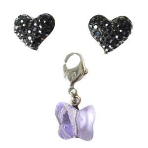 set_orecchini a cuore + ciondolo a farfalla
