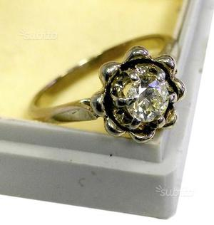 Anello oro bianco vintage diamante naturale