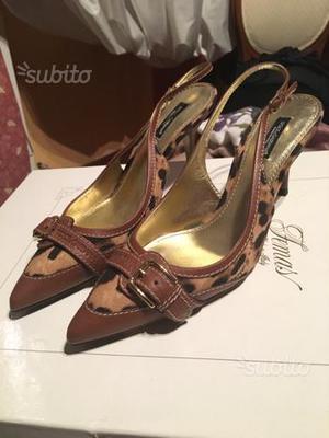Scarpe D&G pelle/cavallino colore nocciola n. 38