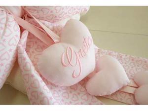 Fiocco nascita rosa cuori penduli bimba