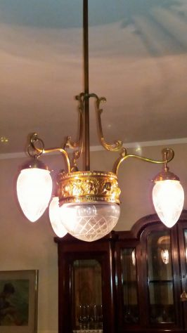 Lampadario antico in ottone 4 luci