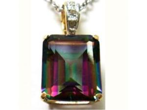 CIONDOLO ORO MYSTIC TOPAZ carati 6 mm.12x10 e 3 Diamanti