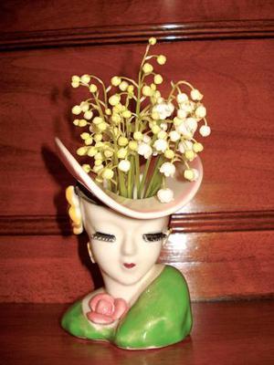 Vaso vasetto vintage in porcellana policroma