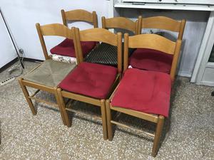 6 sedie in legno da cucina con seduta in paglia intrecciata