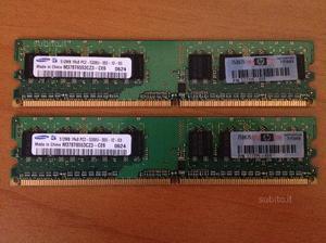 KIT 2x RAM Samsung 512mb (gb PCU 667MHz DDR2
