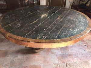 Tavolo rotondo in legno d'epoca