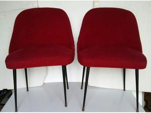 Coppia poltroncine anni 50 di tessuto rosso