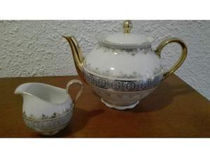 Teiera e lattiera porcellana e oro