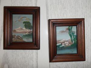 2 quadri incorniciati olio su tela d 'autore anni '70