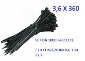 FASCETTE PER CABLAGGIO 360 x 3,6 mm NERO  PEZZI