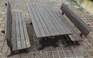 Set tavolo e panche legno