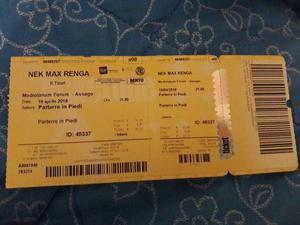 Vendo 1 biglietto concerto di Max/Nek/Renga