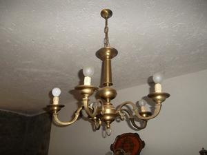 Lampadario in ottone 5 bracci + applique coordinata