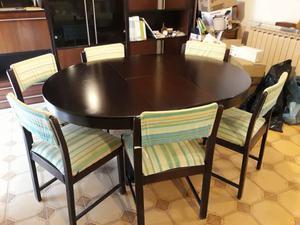 Tavolo in palissandro con 6 sedie