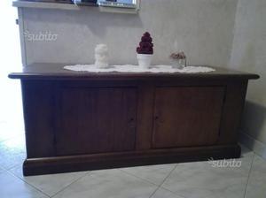 Cassapanca in legno noce, stile arte povera