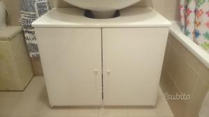 Mobiletto sotto lavabo per bagno bianco lucido