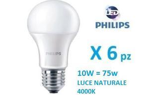 Set 6 pezzi Philips Lampada LED EW 75w luce naturale