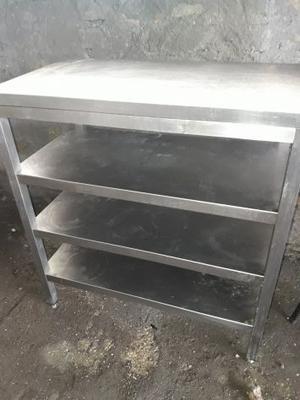 Tavolo lavoro acciaio inox a giorno con alzatina posot class - Tavolo acciaio inox usato ...