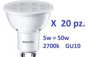 Set di 20 Faretti Philips Led GU10 5W - 50W GU10 luce calda