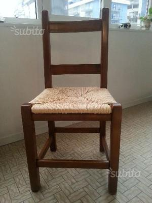 4 sedie in legno massiccio stile arte povera