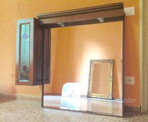 Specchio bagno con pensile vetrina legno massello