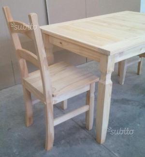 Tavolo 120x80 con 4 sedie in legno massello