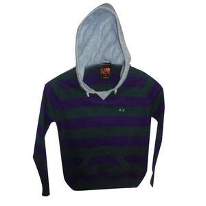 maglioncino lana righe verde e viola con cappuccio