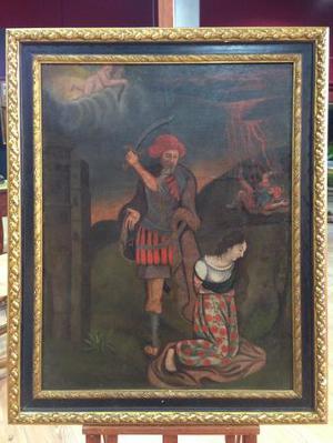 "Dipinto spagnolo olio su tela ""Il sacrificio"""