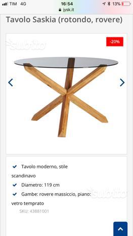 Tavolo in vetro con 4 sedie bianche