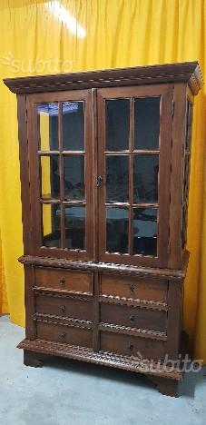 Vetrina Antica in teak asiatico con cassettiera