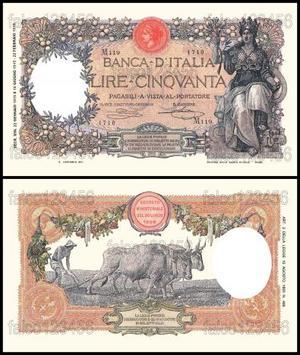 50 lire buoi banconota regno d' italia lira fds