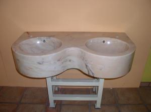 Lavandino da Bagno Bellissimo a 2 Vasche in Marmo Rosa del
