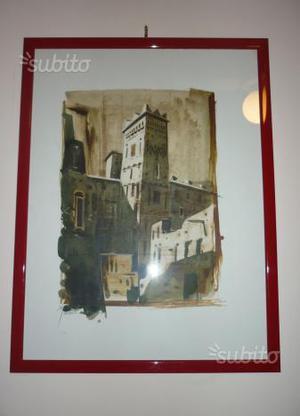 Veduta marocchina, acquerello firmato Mountassir