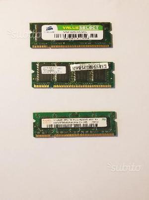 Memoria RAM SODIMM DDR da 512Mb e 256Mb