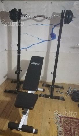 Panca, bilanciere, pesi, supporto regolabile squat