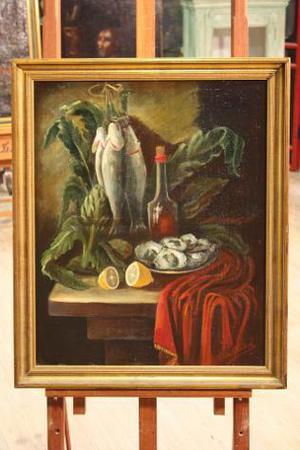 Dipinto spagnolo olio su tela natura morta