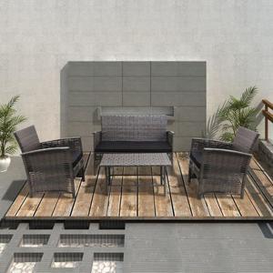 vidaXL Set 4 pz Mobili da esterno in polirattan grigio sedie