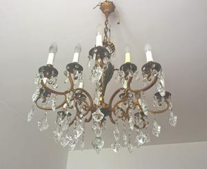 Lampadario in bronzo con gocce di cristallo