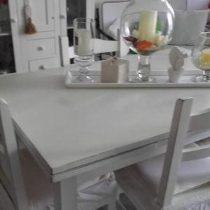 Tavolo da cucina bianco rettangolare shabby style posot for Tavolo stile shabby