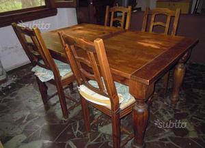 Tavolo arte povera legno + 4 sedie in regalo