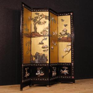 Paravento francese in legno laccato e dipinto a cineseria