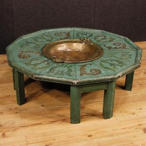 Tavolo basso olandese da salotto in legno laccato e dipinto