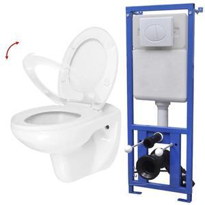 vidaXL WC a Muro con Sciacquone Nascosto in Ceramica Bianco