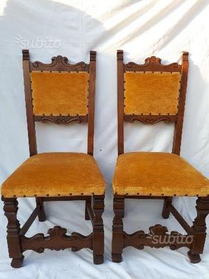6 sedie in legno noce massiccio