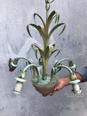 Lampadario in ferro battuto azzurro 5 lampadine