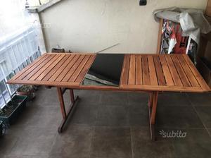 Tavolo da giardino in legno estendibile