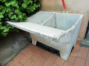 Lavabo da esterno in pietra 2 vasche e ripiani