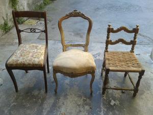 Lotto di 2 sedie antiche sedie in legno di Faggio