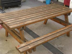 Tavolo da giardino con panca in legno massello