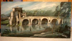 Veduta di rocca con ponte, olio su tela